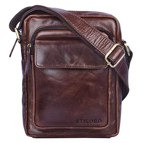 STILORD 'Jannis' Borsello a tracolla uomo in pelle Piccola borsa messenger per tablet da 9.7 pollici Borsetta in vero cuoio resistente stile vintage, Colore:marrone - cioccolata