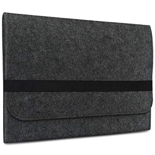 eFabrik Tasche für Samsung Galaxy Book 10,6 Zoll (SM-W620) Schutztasche Sleeve Cover Laptop Schutzhülle Soft Zubehör Filz, Farbe:Dunkelgrau
