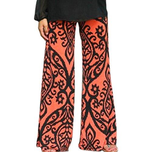 Pantalon Femmes, Toamen Pantalon long à jambes larges Pantalons amples bohémien Floral impression En vrac (M, Orange)
