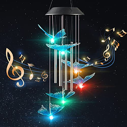 INGOFIN Blue Butterfly Solar Wind Chimes - 4 Music Aluminum Tubes Color Changing LED Lights Waterproof Wind Chime for Outside, Memorial Gifts for Mom Grandma, Outdoor Garden Patio Decoration 27.5''