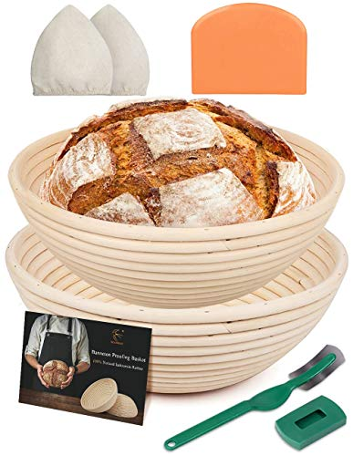Round Banneton Bread Proofing Basket Baking Dough Rising Bowl 2 Set Sourdough Handmade Bread Baskets 9 Inch with Bread Lame Linen Liner Cloth Dough Scraper for Professional & Home Bakers