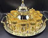Juego de té marroquí Completo, Tetera 1.6 ml, Bandeja de 40 cm diámetro con asas y 12 Vasos dorados (DORADO-12-V)