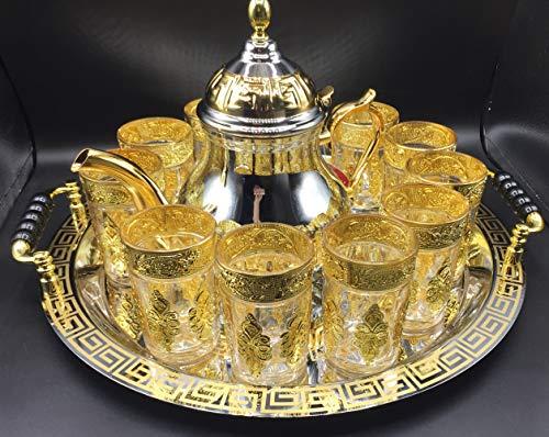 Juego de té marroquí Completo, Tetera 1600 ml, Bandeja de 40 cm diámetro con asas y 12 Vasos dorados (DORADO-12-V)
