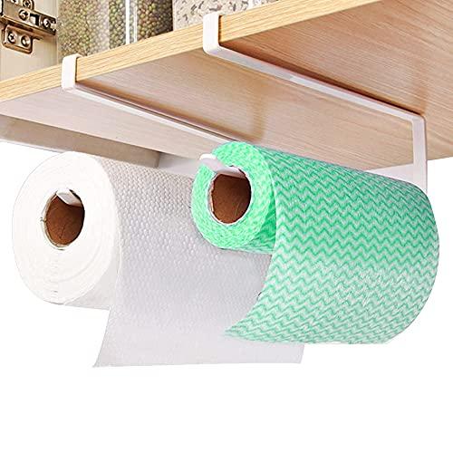 DECARETA 2 Stück Rollenhalter Unterschrank Papierrollenhalter Küchenrollenhalter Ohne Bohren Weiß Papierrollenhalter Küchenrolle Unterschrank Papierhandtuchhalter Unter Kabinett