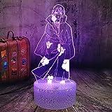 Naruto Sasuke Bros Itachi luz nocturna 3D ilusión óptica LED lámpara de mesa para niño dormitorio decoración luz de sueño vacaciones cumpleaños regalo para adolescentes niño niño juguete