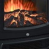 HOMCOM Elektrokamin E-Kamin mit Flammeneffekt Thermostat Kaminofen 1000 W/2000 W, 20–25 qm, Schwarz 44,5x32,1x74 cm - 8