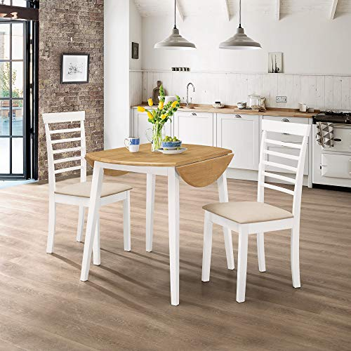 Hallowood Ledbury Small Solid Wooden Round Drop Leaf Dining Table and 2 Chairs Set in White & Oak, Rubberwood, White Painted Body with Light Oak Finish Top, LEB-RTAB920-SET(2)-W