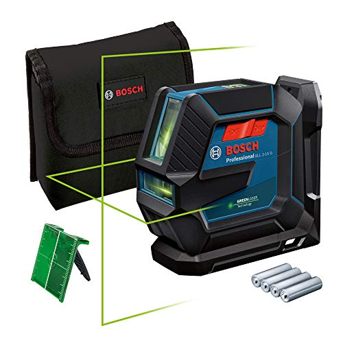Bosch Professional Linienlaser GLL 2-15 G (grüner Laser, Halterung LB 10, sichtbarer Arbeitsbereich: bis 15 m, 4x AA-Batterie, in Kartonschachtel)