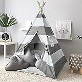 Ejoyous Kinder Teepee Tipi Spielzelt, Kinder mit Bodenmatte Baumwolle Segeltuch Kinderzelt 120*120*145 cm