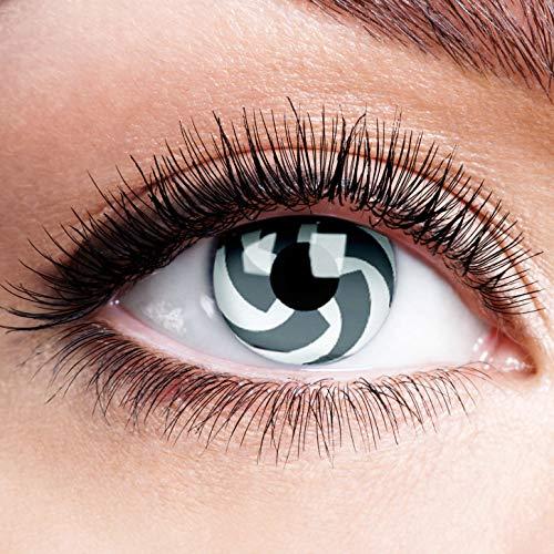 Farbige Kontaktlinsen ohne Stärke Blade Grau Weiß Linsen Halloween Karneval Fasching Cosplay Anime Manga Graue Weiße Augen Crazy Grey White Cyborg Cyber Eyes