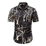 Henley Camisa Hombre Verano Ajustado Hombre Hawaiana Camisa Personalidad Estampado Cárdigan Manga Corta Casual Vacaciones Cómodo Hombre Playa Shirt L-Multicolor 12 XL