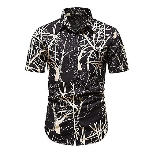 Hawaii Camisa Hombre Verano Cuello V Slim Fit Hombre Playa Shirt Botón Placket Manga Corta Cuello Kent Camisa Moda Estampado Deportiva Camisa Que Absorbe Correr Shirt L-Multicolor 12 XXL