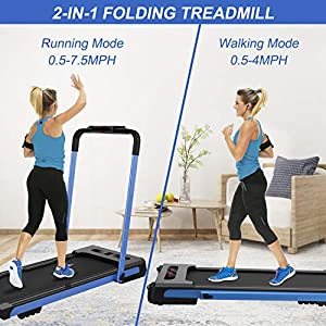 SHAREWIN 2 in 1 Folding Treadmill for Home, Under Desk Walking Pad Treadmills,with Remote Control and LED Display,2.25HP Running Walking Jogging Machine for Home Office Use, Installation-Free (Blue)