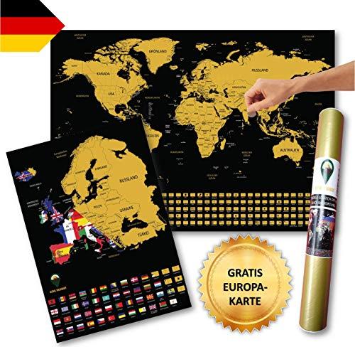 Global Walkabout DEUTSCH - Kratzerkarte mit Flaggenhintergrund - Deluxe A2 WeltKratzerkarte Poster Länder und Fakten mit A3 Europa Kratzerkarte - Reisegeschenk (Black)