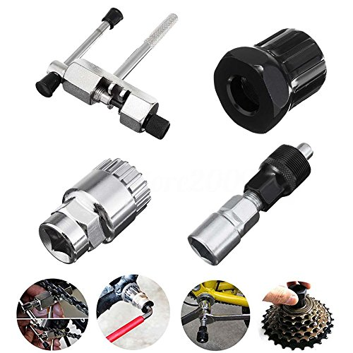 Gimiton Mountain Bike Bicycle MTB Repair Tool Kit Bottom Bracket Remover + Bike Chain Breaker + Crank Extractor + Bottom Crank Bracket Removal Tool (4pcs)