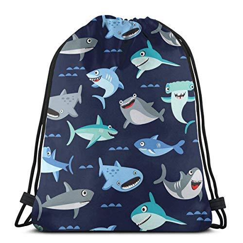 BXBX Bolso de Mochila con cordón de tiburón Azul Marino de Dibujos Animados, Saco de poliéster y cincho, Bolso de Deporte Deportivo Impermeable Mochila Escolar para niños Niñas