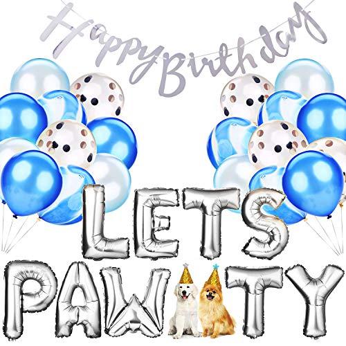 Legendog 33Pcs Dog Cat Birthday Party Supplies, Dog Girl or Boy Birthday Party Decorations, Lets Pawty Balloons Dog Cat Birthday Hat, Happy Pet Birthday Party Kit (Blue)