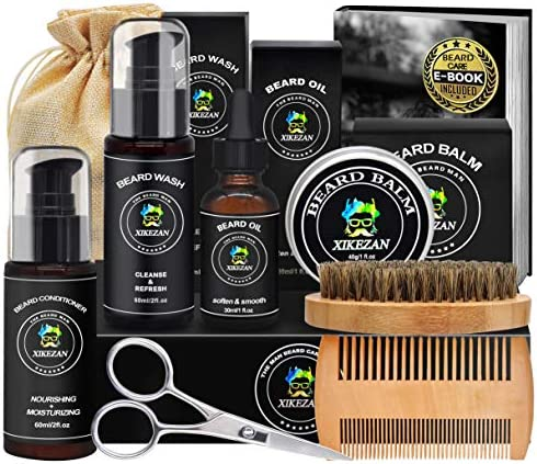 Beard Grooming Kit w Beard Conditioner Beard Shampoo Wash Beard Oil Beard Balm Brush Comb Scissors product image
