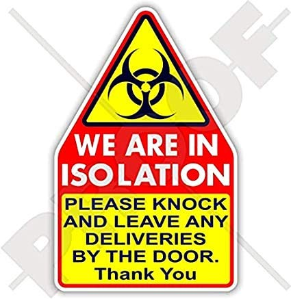 "Türaufkleber ""WE are in Isolation"", hygienische Keime, COVID, Coronavirus, Quarantäne, Biogefahr, Viren, selbstisolierend, 200 mm"