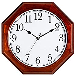 Fashion Wall Clocks Battery Operated Non Ticking Decorative Living Room Decor Silent Bedroom Kitchen Vintage Chinese Retro Quartz Octagon Solid Wood Modern (Color : A)