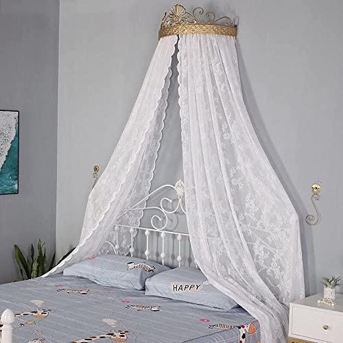Toldo de cama con cúpula de corona, dosel de cama de princesa para niños, mosquitera redonda de encaje, tienda de campaña, cortinas de red con domo de corona, decoración de la habitación de los n