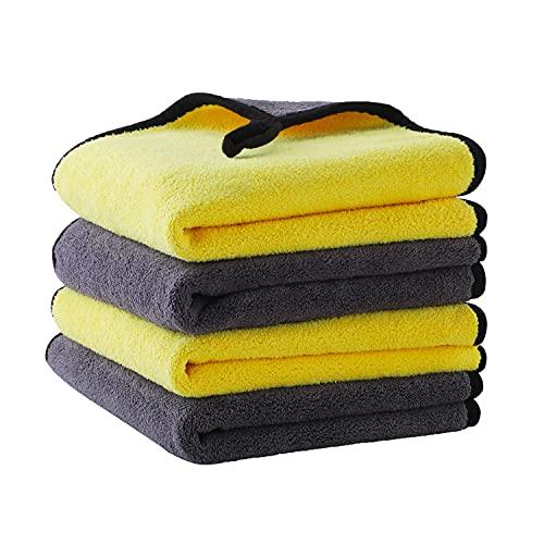 4er 800GSM Mikrofasertücher Auto Poliertuch Trockentuch - Microfasertuch Autopflege Microfaser handtücher Poliertücher - Drying Cloth zur Reinigung Auto Motorrad Haushaltsreinigung Tücher