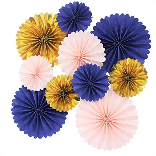 Mybbshower Paper Rosettes Navy Pink Gold for Wedding Fan Photo Backdrop Bridal Shower Birthday Party Decorations Pack of 10