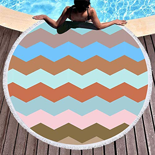 YaOJP Bohemien Ronde strandhanddoek, microvezel, strandhanddoek, wandtapijt, geometrisch patroon, rond, yogamat, dik en zacht, extra groot 150 cm