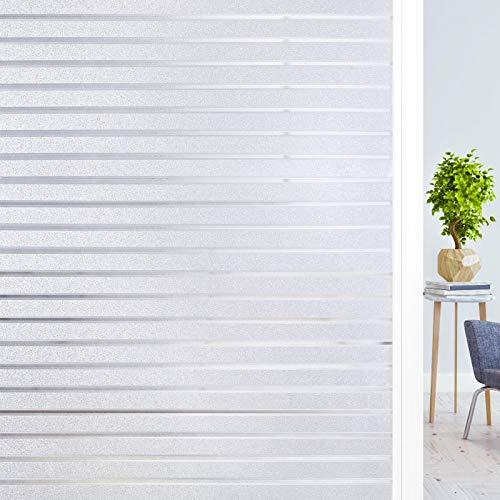 Haton Fensterfolie Streifen Sichtschutzfolie Milchglasfolie Selbsthaftend Blickdicht statisch Fenster Klebefolie ohne Klebstoff Anti-UV für Zuhause Büro 90 * 200 cm