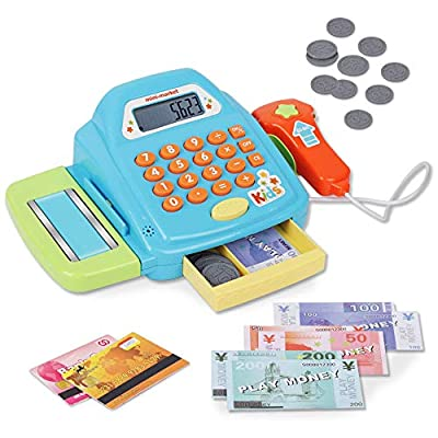 Playkidz Interactive Toy Cash Register for Kids - Sounds & Early Learning Play - Handheld Scanner & Calculator, Working Conveyor Belt by Playkidz