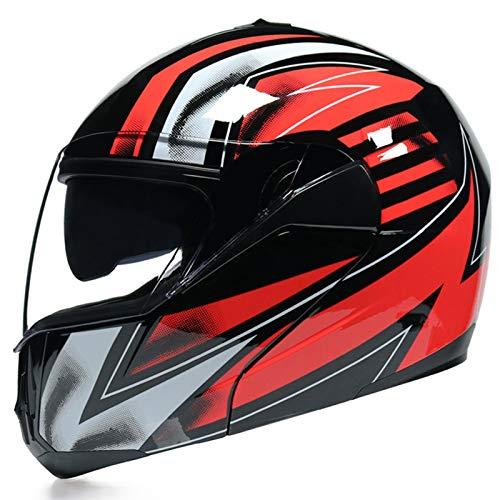 ZLYJ Casco Moto Integral Casco Scooter para Hombre y Mujer Casco Unisex de Motocicleta para Adultos con Doble Visera Anti-rasguños y Protección Rayos UV ECE Homologado B,XL