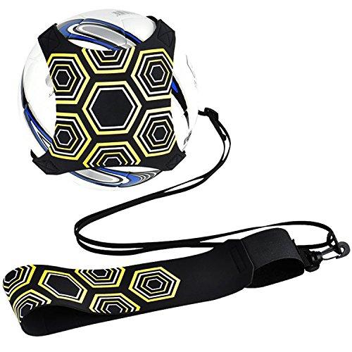 QIMEI-SHOP Fußball trainer, Fußball-Trainingsgeräte Hands Free Solo-Praxis mit Gurt Elastikseil Universal passt # 3# 4# 5 Fußbälle für Kinder Erwachsene