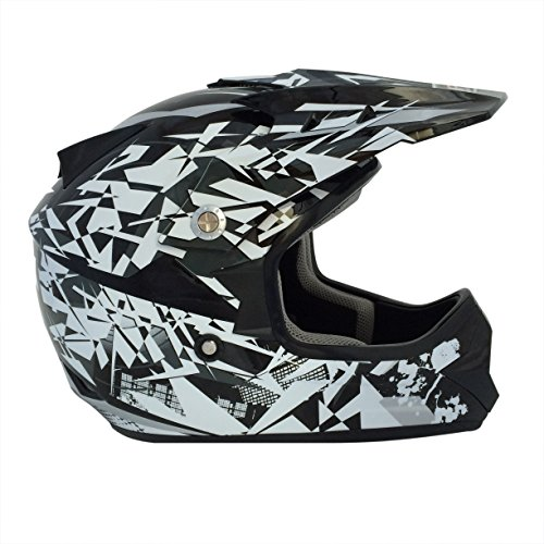 Viper Helmets Craze RSX13 Casque de Moto pour Enfants, Nero/Argenté, 57-58