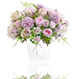 Artificial Flowers, 2 Pack Fake Peony Silk Light Purple Hydrangea Bouquet Decor Plastic Carnations Daisy Realistic Flower Arrangements Wedding Decoration Table Centerpieces,for Home Office Party Decor