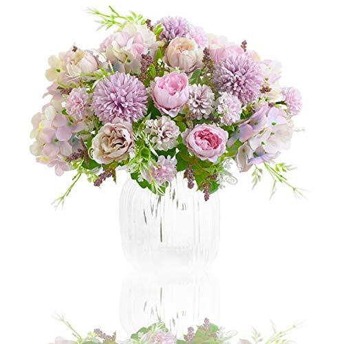 Flores Artificiales, Paquete de 2 Decoraciones de Ramo de Imitación, Arreglos Florales de Plástico Realistas, Decoraciones de Boda, Centros de Mesa, Decoraciones Para Fiestas de Oficina (Púrpura)
