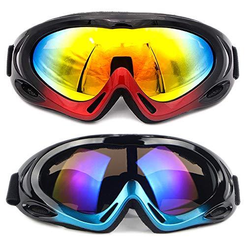 SENDILI 2-Pack Gafas de Esquí - Gafas de Esquiar para Unisexo, Snowboard Resistentes al Viento, Lentes Anti-Reflejo(Negro-Azul + Negro-Rojo)