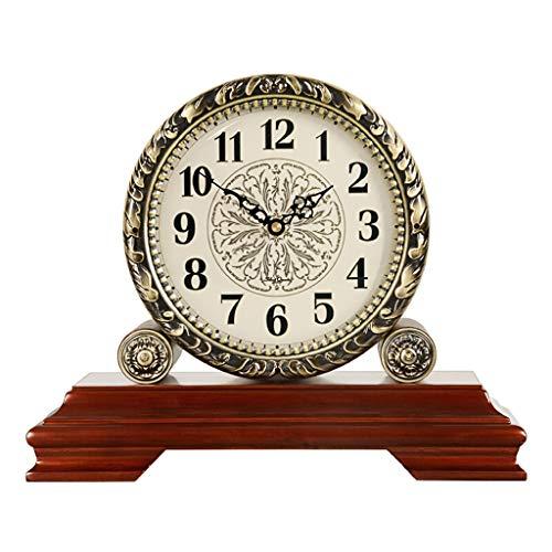 A-ZHP Reloj de Mesa clásica Reloj de Mesa Retro Europeo del Silencio Sentado Reloj clásico del Cuarzo del Reloj de Brown