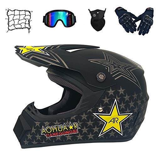 CNSTZX Motorrad Crosshelm, Rockstar Adult Motocross Helm, mit Brille (5 Stück) Schwarz, Erwachsener Off Road Fullface MTB Mopedhelm, Motorradhelm für Damen Herren Sicherheit Schutz,M