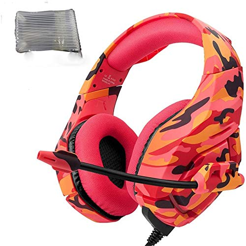 Gaming Headset CDZXMM Ps4 Headset Gaming Headphones Game Earphones Casque with Mic for Pc Mobile Phone 21.5 9.5 19.5cm Red Camo Air-Bag