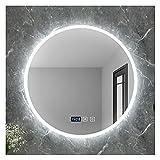 SAKLHDOQ Espejo de Baño Bluetooth Iluminado con retroiluminación LED de 500 x 500/600 x 600 mm, Espejo de Pared con Función Antivaho, botón Regulable táctil