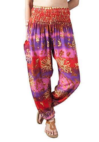 LOFBAZ Harem Pants for Women Yoga Boho Hippie Clothing Palazzo Bohemian Beach Maternity Pajama Indian Gypsy Travel Clothes Tie Dye Purple & Pink M