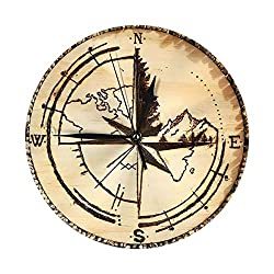 Sweet Studio Silent Wall Clock,Compass and Map Carved in Wood Print Decorative Non Ticking Wall Clock/Desk Clock for Office Home Decor 9.84 Inch