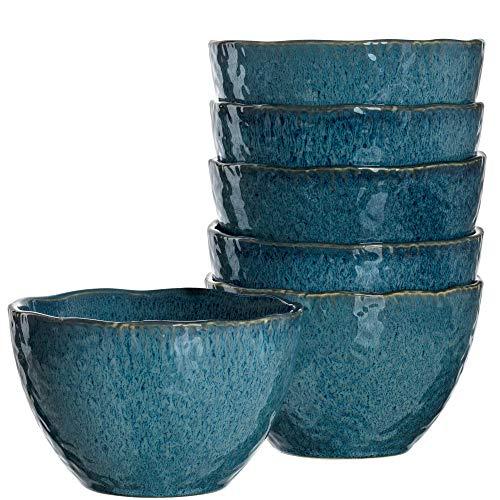 Leonardo Matera Keramik-Schalen, 6-er Set, spülmaschinengeeignete Schüsseln, Steingut-Schalen mit Glasur, blau, 980 ml, Ø 15,3 cm, 018545