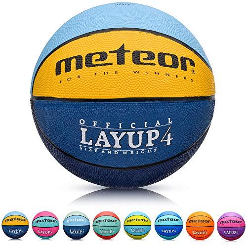meteor® Kinder Basketball Layup Größe #4 Jugend Basketball ideal auf die Kinder-hände 5-10 Jahre idealer Mini Basketball für Ausbildung weicher Kinder Basketball Outdoor (Größe #4, Blau/Gelb/Grün)