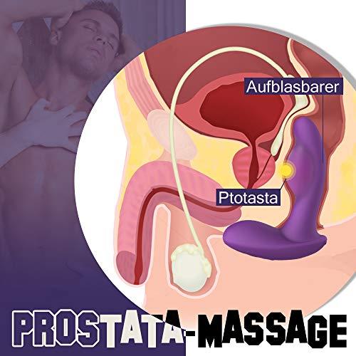 Analvibrator Prostata vibratoren mit 11 Aufgeblasensmodi und Vibrationsmodi Silikone Analplug 15M Fernbedienung Prostata Sexspielzeug männer Moruioy