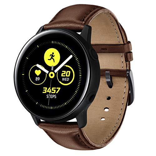 NEAWO Kompatibel mit Galaxy Watch Active/Active 2 40mm 44mm Armband, Galaxy Watch 42mm Armband, Gear S2 Classic Armband, Gear Sport Armband, Echt Leder Ersatzarmband (20mm, Leder Braun)