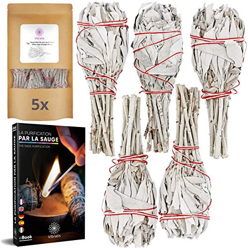 Vibratis - 5X Sauge Blanche de Purification à Brûler - Lot de 5 Bâtonnets d'Encens de Sauge Blanche de Californie [ ]