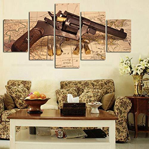 BAOYIHAI Póster de Lienzo Modular Impreso en HD para Sala de Estar, 5 Paneles, una Pistola y Balas, Pintura artística para Pared, decoración del hogar, imágenes de Mapa