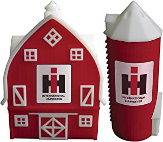 Farmall Barn & Silo Salt & Pepper Shakers - Handpainted Ceramic w/IH Logo