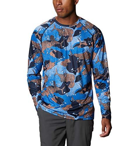 Columbia Super Terminal Tackle - Camisa de Manga Larga para Hombre, Hombre, Super Terminal Tackle Camisa de Manga Larga, 170943, Vivid Blue Gamefish Camo Azul, Small